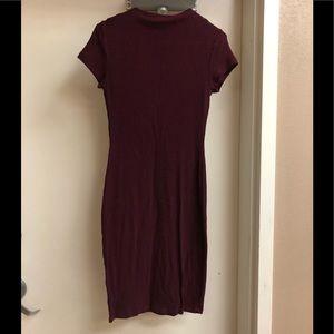 Mock neck red marled short sleeve dress